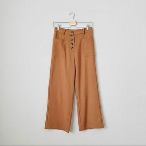 {Elodie} Camel Wide Leg High Waist Ankle Pants